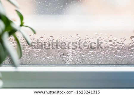 Selective focus on water condensation on window glass. Humidity in the house. Home moisture. ストックフォト ©