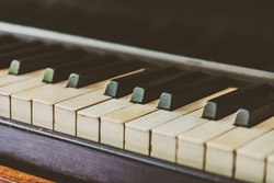 Selective focus point Piano keys - vintage filter