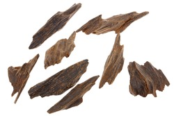 Selective Focus, Sticks Of Agar Wood Or Agarwood Background The Incense Chips Used By Burning for incense & perfumes of essential oil as Oud Or Bakhoor