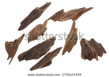 Selective Focus, Sticks Of Agar Wood Or Agarwood Background The Incense Chips Used By Burning for incense & perfumes of essential oil as Oud Or Bakhoor Stock fotó ©
