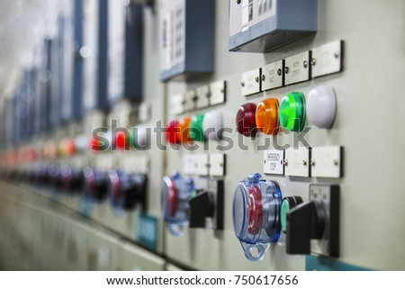 Selective focus,Technical display on control panel with electrical equipment devices cabinet,light