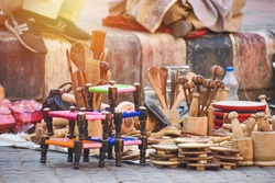 selective focused view of wooden handcraft in an Indian city
