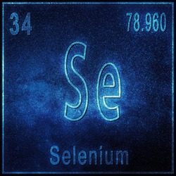 Selenium chemical element, Sign with atomic number and atomic weight, Periodic Table Element