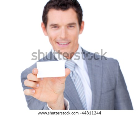 Self-assured caucasian businessman showing a white card against a white background