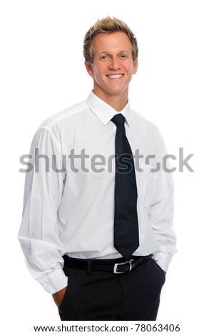 Self assured young caucasian man in formal attire with a tie
