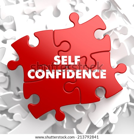 Self Confidence on Red Puzzle on White Background.