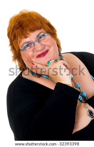 Self confident obese middle aged woman. Studio, white background.