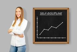 Self discipline concept. Discipline and self motivation for business people.