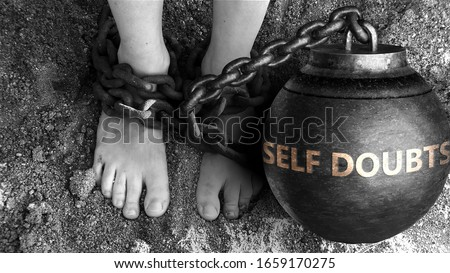 Self doubts as a negative aspect of life - symbolized by word Self doubts and and chains to show burden and bad influence of Self doubts, 3d illustration