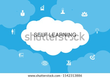 Self learning Infographic cloud design template.personal growth, inspiration, creativity, development simple icons