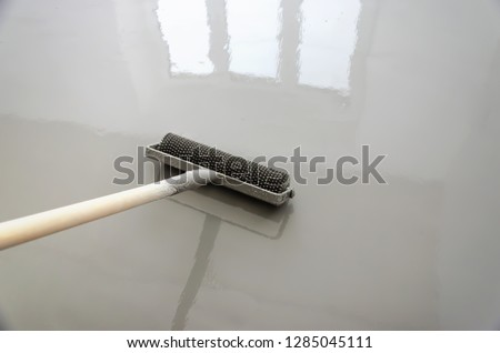 Self-leveling epoxy. Leveling with a mixture of cement floors with a roller