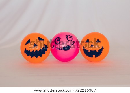Self Made hand drown Smiley face Halloween Spooky balls in orange and pink with white background #722215309