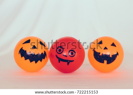 Self Made hand drown Smiley face Halloween Spooky balls in orange and red dracula with  white background #722215153