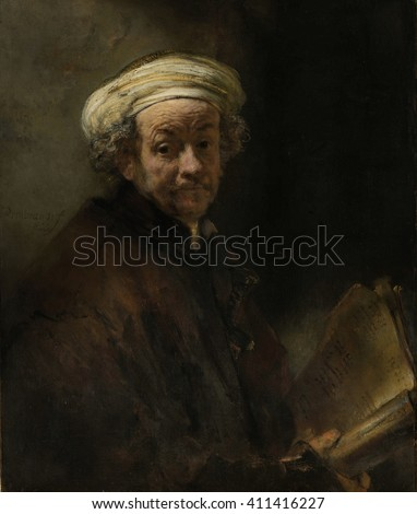 Self Portrait as the Apostle Paul, by Rembrandt van Rijn, 1661, Dutch painting, oil on canvas. Rembrandt's only self portrait as a biblical figure, represents the apostle Paul of Tarsus