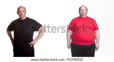 Self Portrait - 18 months of healthy eating and exercise - 180 pounds lost - stock photo