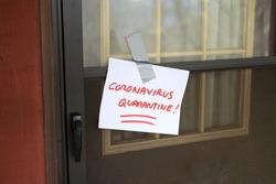 Self Quarantine door sign for front of house, because of Coronavirus (2019-nCoV)(Sars-CoV-2)(COVID-19). corona qourintine quaranitne quarentied quarrantined quaranteen qourantine quaratine qurantine