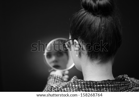 self reflection woman in mirror