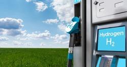 Self service hydrogen filling station on a background of ecological background