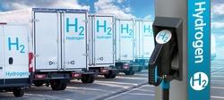 Self service hydrogen filling station on a background of trucks