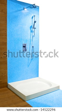 Self standing modern shower with blue tiles
