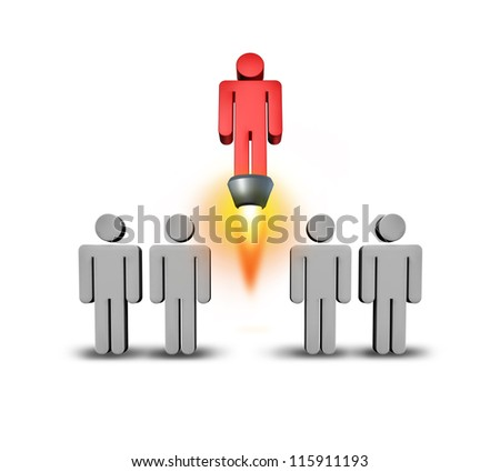 Self starter as an individuality and success concept with a group of grey people icons in a team rising up from the crowd with a rocket engine blasting upward with flames on a white background.