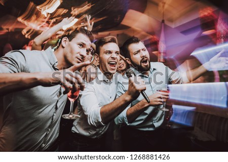 Selfie. Club. Young People Sing Songs. Great Mood. Karaoke Club. Celebration. Holidays. Dancing People. Smiling Girl. Bar. Dance. Friends. Handsome Men. Beautiful Girls. Fun. Smartphone. Self-Stick.