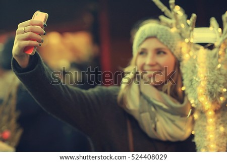 selfie girl New Year Street City