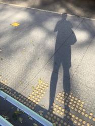 Selfie of shadow on the pedestal