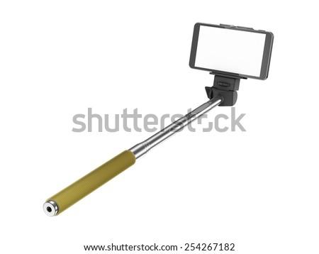 selfie stick mono pod with mobile phone stock photo 254267182 shutterstock. Black Bedroom Furniture Sets. Home Design Ideas