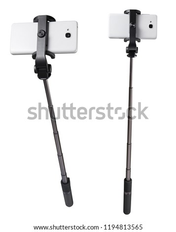 Selfie stick monopod and cellphone isolated on white with clipping path #1194813565