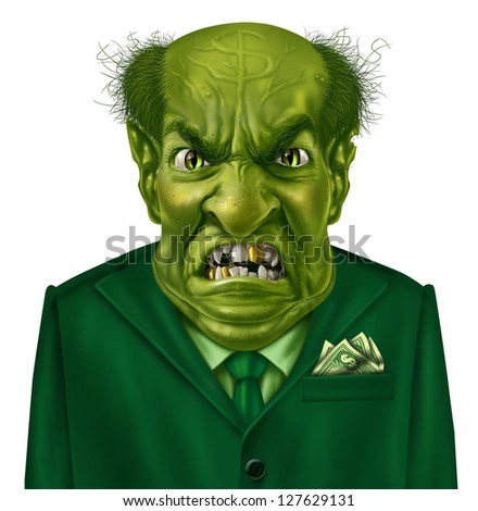 Selfish greed as a green business boss character with a suit and dollar sign on his forehead representing the concept of selfishness and greedy financial behavior.