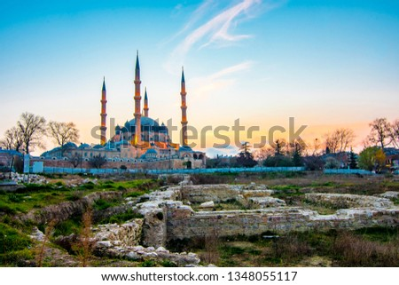 Photo of  Selimiye Mosque view in Edirne City of Turkey. Edirne was capital of Ottoman Empire.