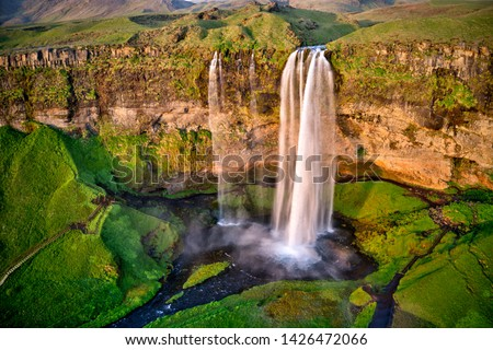 Seljalandfoss from aerial view, Iceland. One of the most beautiful waterfall in Iceland. #1426472066