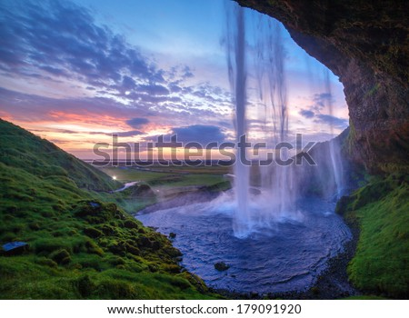 Seljalandfoss waterfall at sunset, Iceland. Horizontal shot. #179091920
