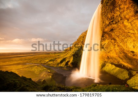 Seljalandsfoss is one of the most beautiful waterfalls on the Iceland. - stock photo