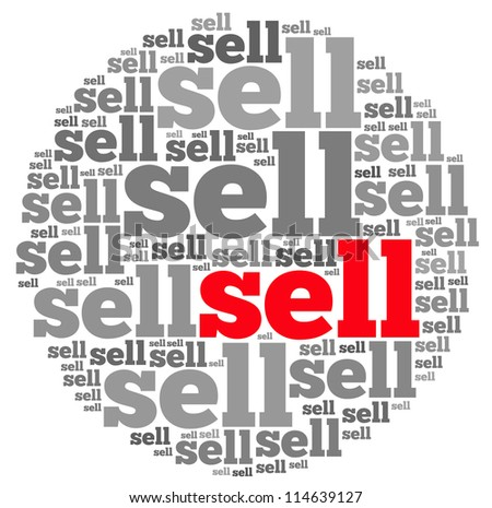 Sell info-text graphics and arrangement concept on white background (word cloud)