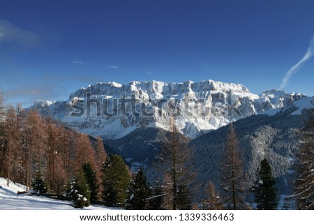 Sella Mountain in Winter, viewing from Pic. Located in the Dolomites above Selva di Val Gardena, a famous Tourist destination