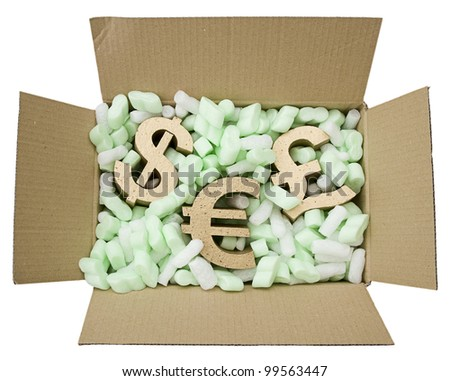 selling, gold pound, euro and dollar symbols inside box of protective foam packaging isolated on white