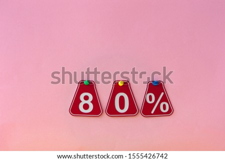 selling 80 percent. Big sale 80%, eighty percent on pink background for flyer, poster, shopping, sign, discount, marketing, sale, banner, website, headline #1555426742