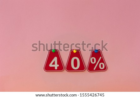 selling 40 percent. Big sale 40%, forty percent on pink background for flyer, poster, shopping, sign, discount, marketing, sale, banner, website, headline #1555426745