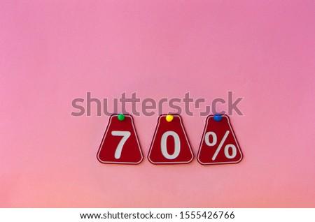 selling 70 percent. Big sale 70%, seventy percent on pink background for flyer, poster, shopping, sign, discount, marketing, sale, banner, website, headline #1555426766