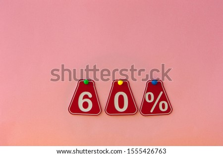 selling 60 percent. Big sale 60%, sixty percent on pink background for flyer, poster, shopping, sign, discount, marketing, sale, banner, website, headline #1555426763