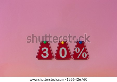 selling 30 percent. Big sale 30%, thirty percent on pink background for flyer, poster, shopping, sign, discount, marketing, sale, banner, website, headline #1555426760