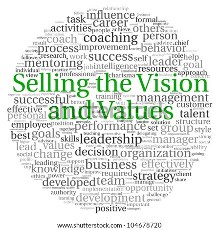 Selling the Vision and Values concept in word tag cloud on white background