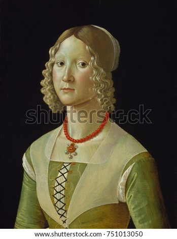 SELVAGGIA SASSETTI, by Davide Ghirlandaio, 1487_88, Italian Renaissance painting, tempera on wood. The portrait of the daughter of banker Francesco Sassetti was possibly made on her marriage to Simone