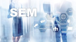 SEM Search Engine Optimization Marketing Ranking Traffic Website Internet Business Technology Communication Concept