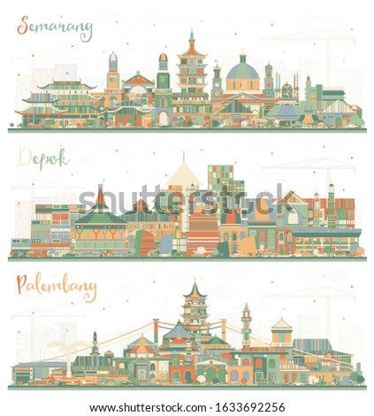 Semarang, Palembang and Depok Indonesia City Skylines with Color Buildings. Business Travel and Tourism Concept with Modern Architecture. Cityscapes with Landmarks.