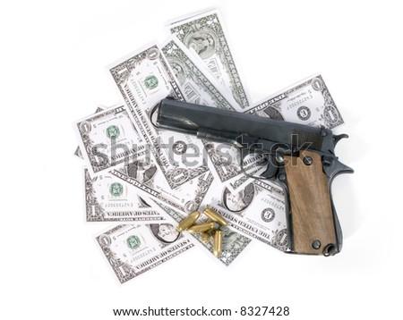 Semi-automatic gun, bullets and banknotes
