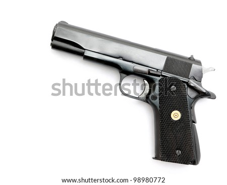 Semi-automatic gun  isolated on white background - stock photo