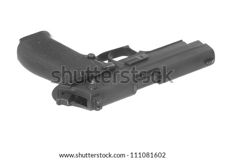 semi-automatic Handgun isolated on a white background